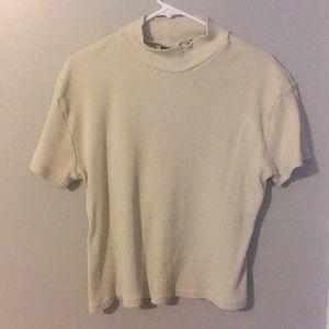 Vintage oatmeal colored ribbed mocked neck shirt